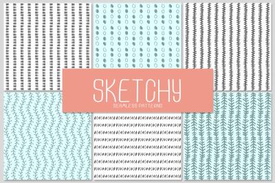 6 SKETCHY seamless patterns