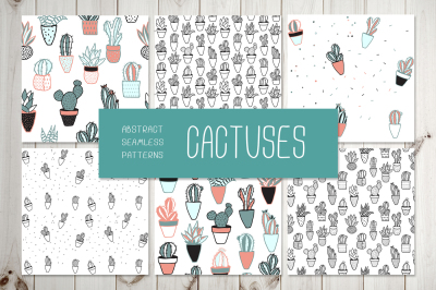 """""""CACTUSES"""" 6 seamless patterns"""