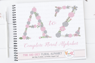 Pink and Grey Floral Alphabet | Flower Letters