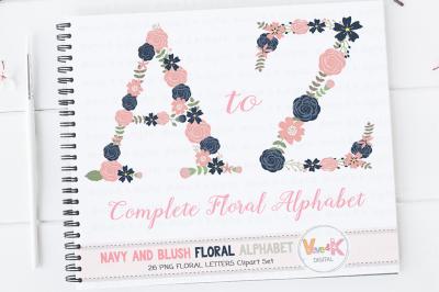 Floral Alphabet Clipart | Floral Letters | Navy & Blush Floral Letters