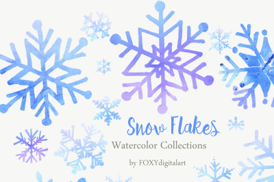 Christmas Snow Flakes Watercolor Clipart