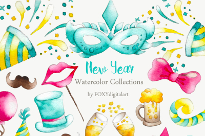Watercolor New Year Party Confetti Clipart