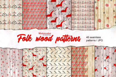 Folk wood seamless patterns