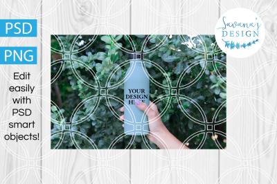 1l Clear Glass Bottle Water Mockup