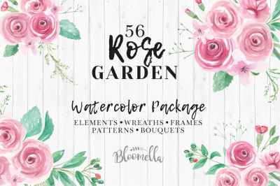 Watercolor Rose flower clipart Package Pink Roses Wedding Floral Kit