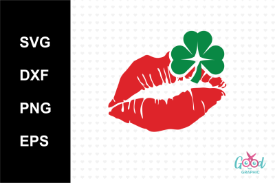 kiss iris Svg, Lucky Svg, St Patricks day Svg, Lucky clover Svg