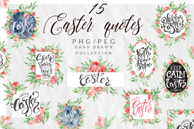 Easter quotes Floral watercolor lettering