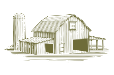 Woodcut Traditional Barn