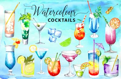 Watercolor Cocktails Watercolor Drinks Watercolor Clipart Watercolor