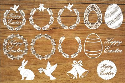 Easter elements SVG files for Silhouette Cameo and Cricut.