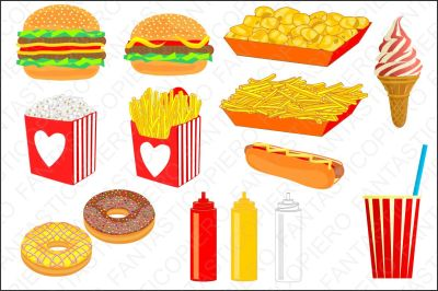 Fast food clipart hamburger chips nuts popcorn hot dog ice cream