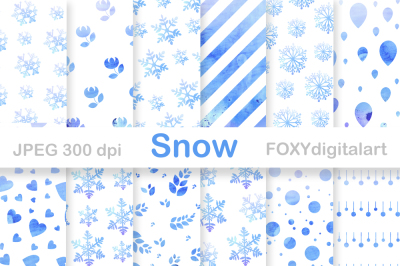 Snow Flakes Christmas Digital Paper