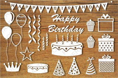 Happy Birthday separate elements SVG