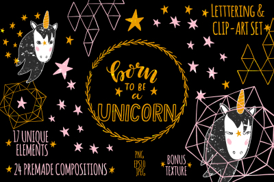 Unicorn Clip Art & Lettering Set