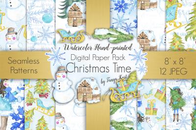 Christmas Time Watercolor Digital Paper