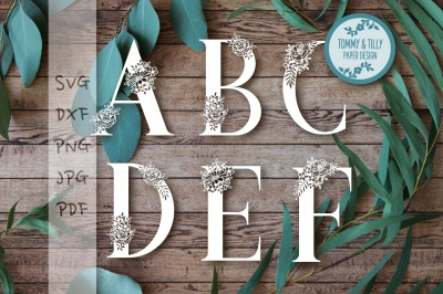 Floral Alphabet Bundle 26 letters - Cutting Files SVG DXF PNG PDF JPG