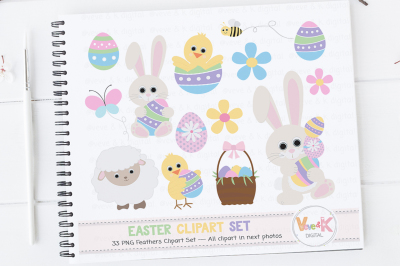 Easter Bunny Clipart Set | Easter Graphics