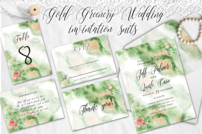 Gold Greenery floral Watercolor Wedding Invitation suite