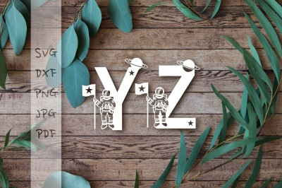 Astronaut Alphabet Bundle 26 letters - Cutting SVG DXF PNG PDF JPG