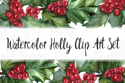 Watercolor Holly Clip Art Set
