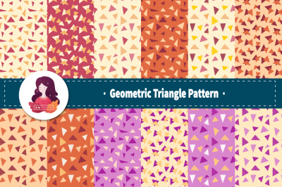 Geometric Triangle Pattern Collection With Pastel Color