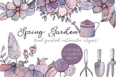 Spring Garden Watercolor Clipart Set