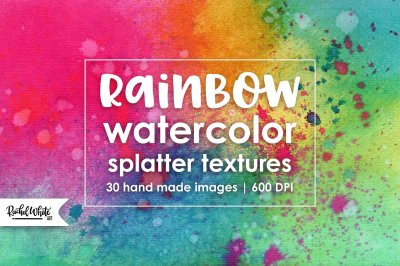 Rainbow Watercolor Splatter Textures