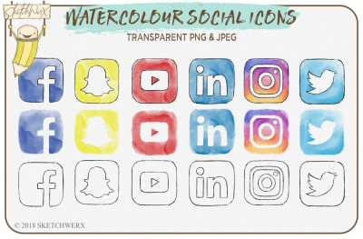6 Watercolour Social Media Icons