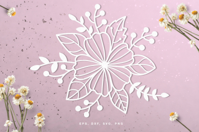 Floral Wreath Papercut Template Flowers Scrapbook Sticker Svg