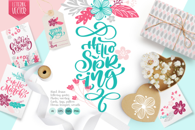 Hello Spring vector lettering & floral greeting card