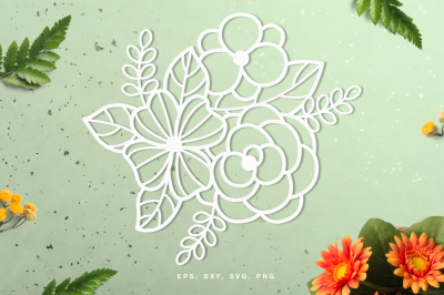Floral digital cut file (svg, dxf, png, eps)