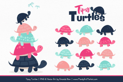 Sweet Stacks Tipsy Turtles Stack Clipart in Navy & Hot Pink