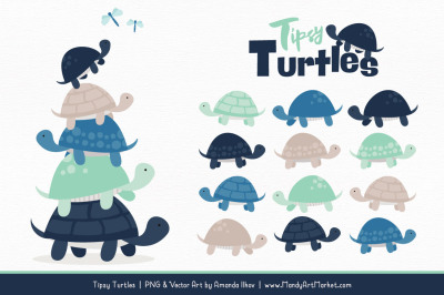 Sweet Stacks Tipsy Turtles Stack Clipart in Navy & Mint