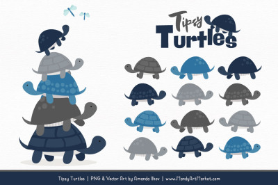 Sweet Stacks Tipsy Turtles Stack Clipart in Navy & Pewter
