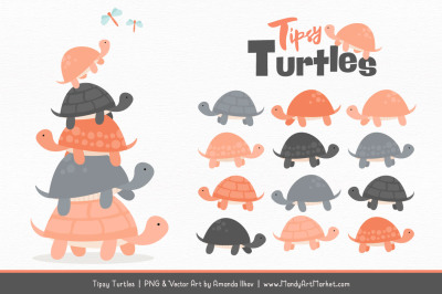 Sweet Stacks Tipsy Turtles Stack Clipart in Peach & Pewter