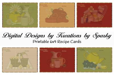 6x4 Printable Recipe Cards