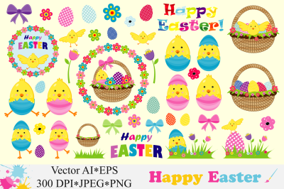 Happy Easter Clipart / Cute Easter chick, basket, eggs Vector graphics