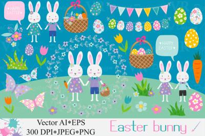 Easter bunny clipart / Easter rabbit, eggs graphics / Spring clipart