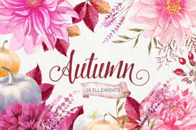 Fall Autumn & Halloween watercolors