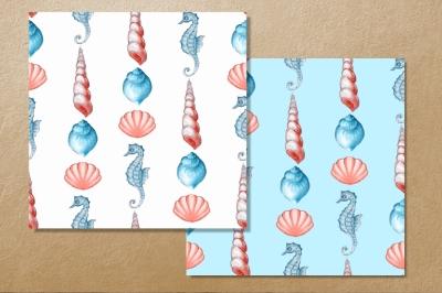Seashells. Watercolor pattern