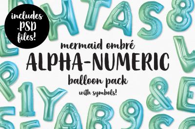 Mermaid Ombre Foil Balloon Alphabet, Numbers & Symbols Bundle