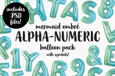 Mermaid Ombre Foil Balloon Alphabet, Numbers & Symbols Bundle