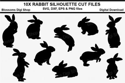 Rabbit silhouettes, SVG, DXF, EPS and PNG cut files