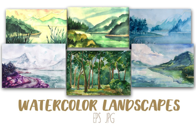 12 Artistic Watercolor  Landscapes and Vectorized Copy