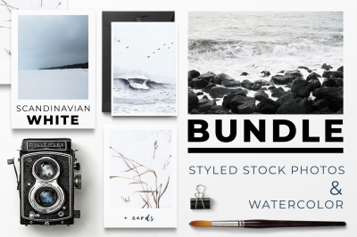 SCANDINAVIAN WHITE BUNDLE: styled stock photos & watercolor + cards