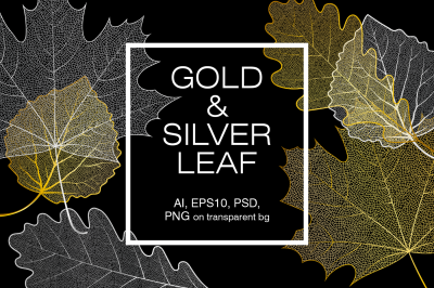 Gold and silver skeleton leaves