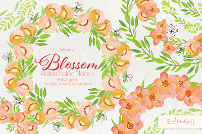 Blossom Watercolor Flora #32 - Wreaths