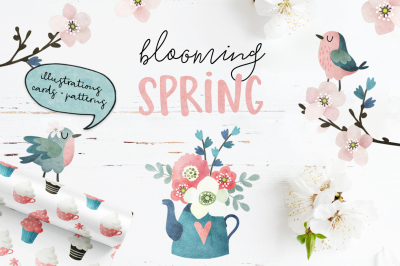 Blooming Spring watercolor set