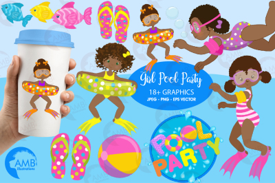 Pool Party for girls clipart, graphics, illustrations AMB-1998