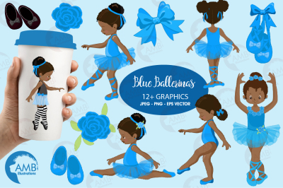Ballerina in blue clipart, Ballet clipart, ballerina AMB-1946